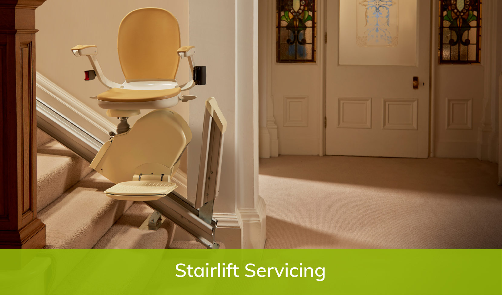Stairlift repair near me page servicing image of a straight stairlift